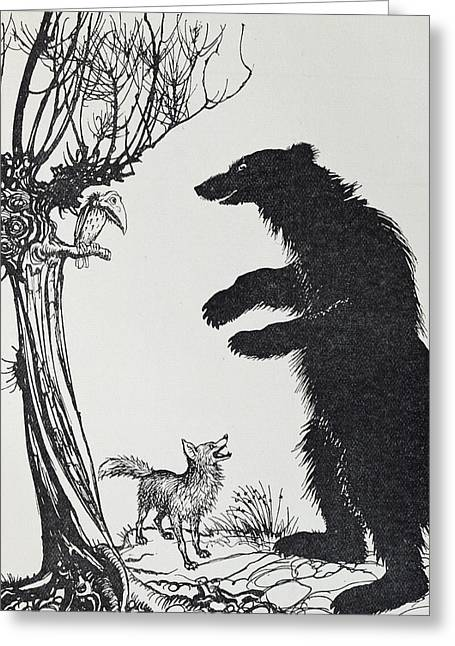 Black And White Drawing Greeting Cards -  The Bear and the Fox Greeting Card by Arthur Rackham