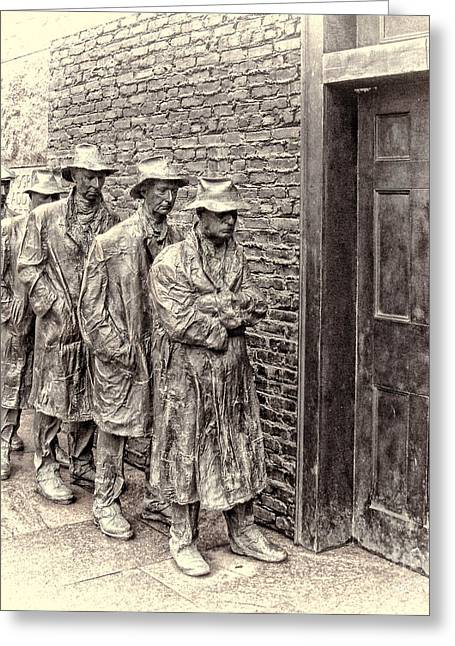 Franklin Roosevelt Photographs Greeting Cards -  The Bread Line Sculpture Greeting Card by Jack Schultz