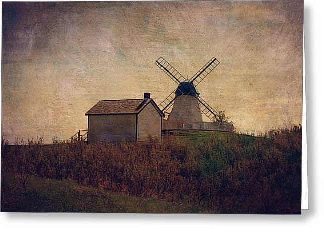 Residential Structure Digital Greeting Cards -  The Bruderheim Windmill  Greeting Card by Maria Angelica Maira