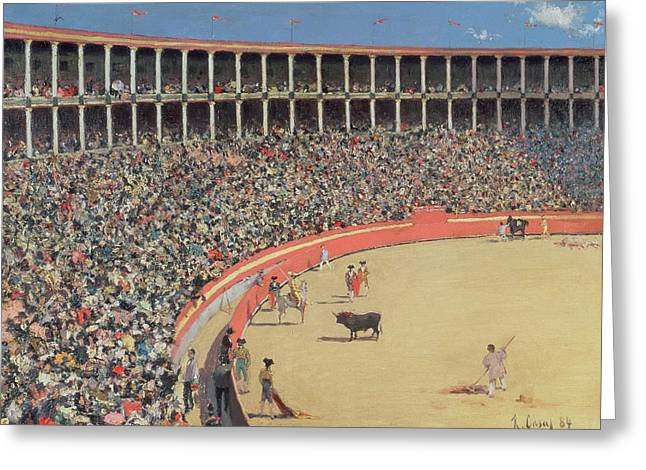 The Bullfight Greeting Card by Ramon Casas i Carbo