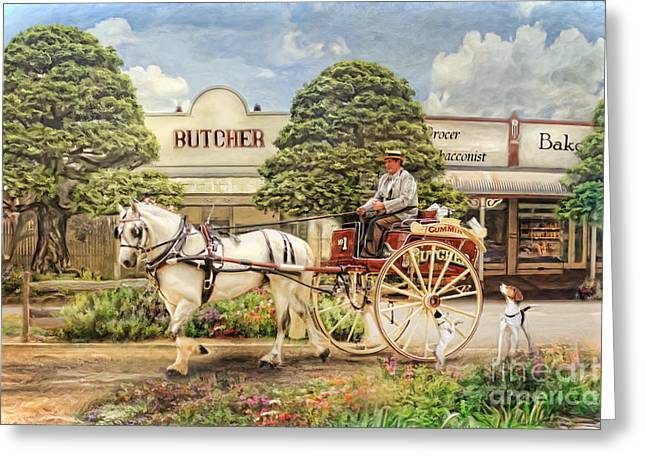 White Terrier Mixed Media Greeting Cards -  The Butchers Cart Greeting Card by Trudi Simmonds