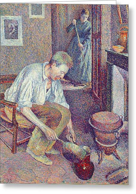 Domestic Scene Greeting Cards -  The Coffee Greeting Card by Maximilien Luce