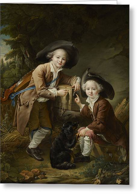 Chevalier Paintings Greeting Cards -  The Comte and Chevalier de Choiseul as Savoyards Greeting Card by Francois Hubert Drouais