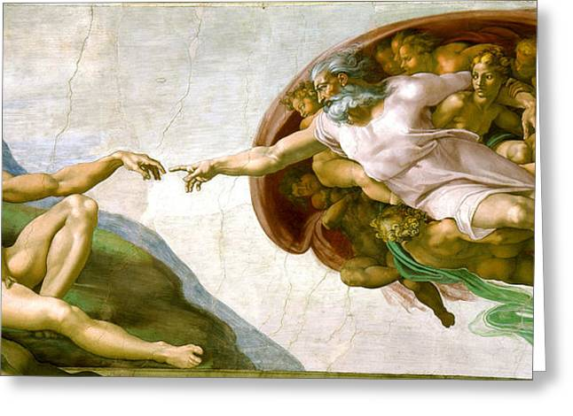 Religious ist Paintings Greeting Cards -   The Creation of Adam Greeting Card by Michelangelo di Lodovico Buonarroti Simoni