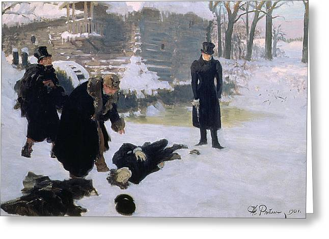 Wounded Greeting Cards -  The Duel Greeting Card by Ilya Efimovich Repin