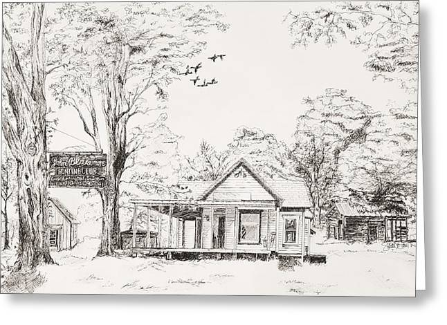 Pen And Ink Rural Drawings Greeting Cards -  The Farm Greeting Card by Susan Gauthier