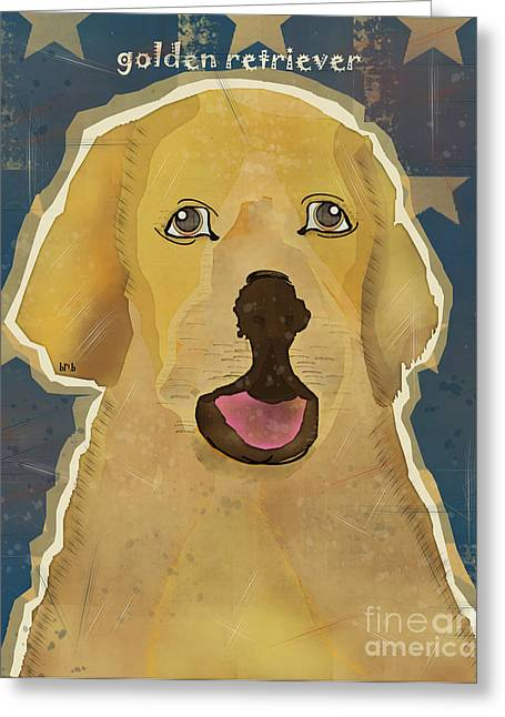 Retriever Prints Digital Art Greeting Cards -  The Golden Retriever Greeting Card by Bri Buckley