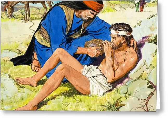 Charity Paintings Greeting Cards -  The Good Samaritan  Greeting Card by Clive Uptton