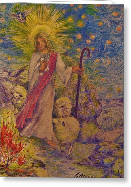 Gathering Drawings Greeting Cards -  The  Good  Shepherd Greeting Card by Beth Arroyo