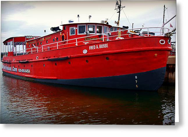 Fireboat Framed Prints Greeting Cards -  The Great Lakes 1937 Fred A Busse Chicago Fireboat  Sturgeon Bay Wisconsin Greeting Card by Carol Toepke