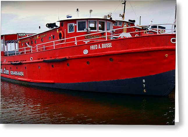 Fireboat Framed Prints Greeting Cards -  The Great Lakes  Fred A Busse Chicago Fireboat  Sturgeon Bay  Wisconsin Greeting Card by Carol Toepke