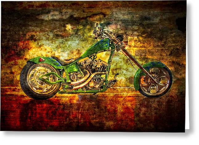 Custom Mirror Greeting Cards -  The Green Chopper Greeting Card by Debra and Dave Vanderlaan