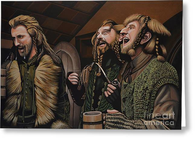 Lord Of The Rings Greeting Cards -  The Hobbit and the Dwarves Greeting Card by Paul Meijering