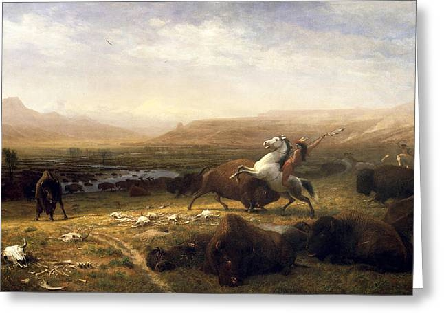 The American Buffalo Greeting Cards -  The Last of the Buffalo Greeting Card by Albert Bierstadt