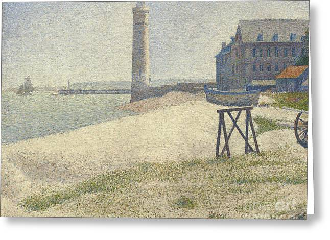Ports Paintings Greeting Cards -  The Lighthouse at Honfleur Greeting Card by Georges Pierre Seurat