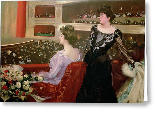 2 Seat Greeting Cards -  The Lyceum Greeting Card by Ramon Casas i Carbo