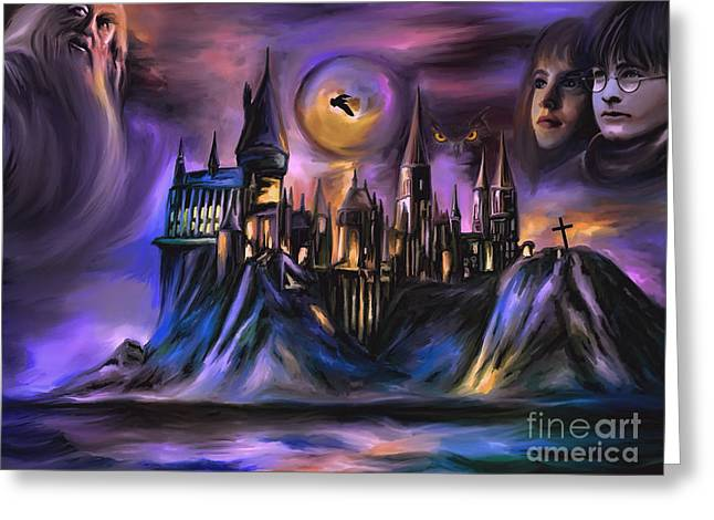 Castle Illustration Greeting Cards -  The Magic castle I. Greeting Card by Andrzej Szczerski
