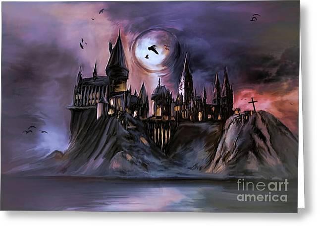 Castle. Birds Greeting Cards -  The Magic castle II. Greeting Card by Andrzej Szczerski