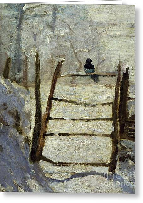 Fallen Snow Greeting Cards -  The Magpie Greeting Card by Claude Monet