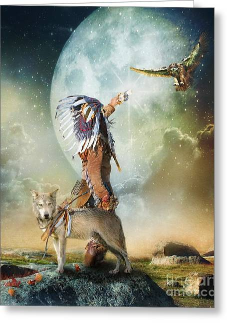 American Indian Mixed Media Greeting Cards -  The Messenger Greeting Card by Trudi Simmonds