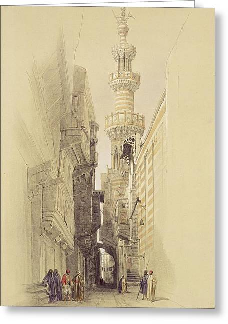 Street Scenes Greeting Cards -  The Minaret of the Mosque of El Rhamree Greeting Card by David Roberts