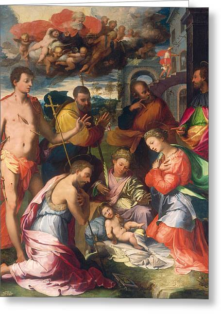 Putti Greeting Cards -  The Nativity Greeting Card by Perino del Vaga Pietro Buonaccorsi