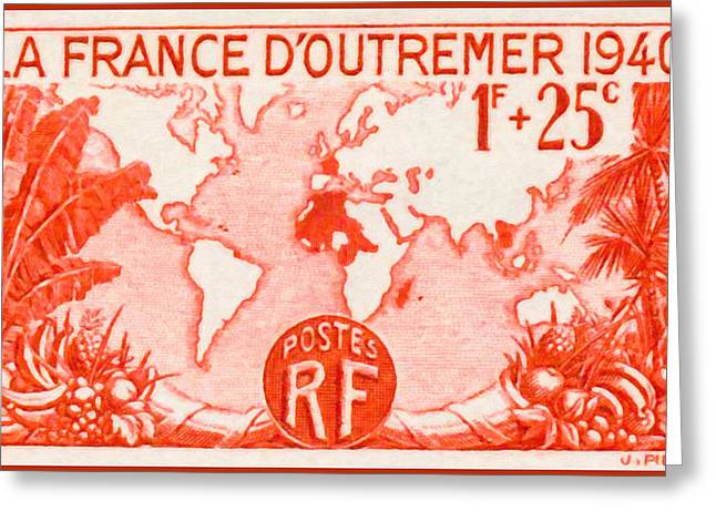 """france Poster"" Greeting Cards -  The Overseas France 1940 Stamp Greeting Card by Lanjee Chee"