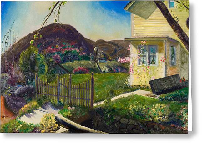 Swingset Greeting Cards -  The Picket Fence Greeting Card by George Wesley Bellows