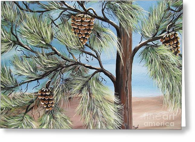 Pine Cones Paintings Greeting Cards -  The Pines  Greeting Card by Beverly Livingstone
