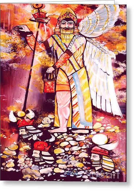 Ancient Persian Art Greeting Cards -  The Purifier Greeting Card by Dariush Alipanah- Jahroudi