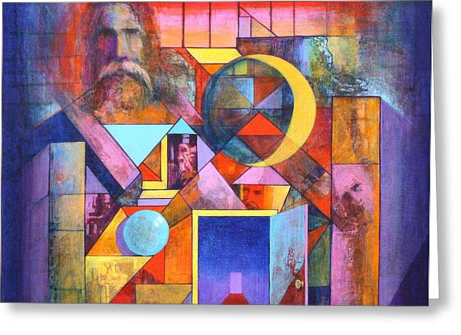 The Pythagoras Door Greeting Card by J W Kelly