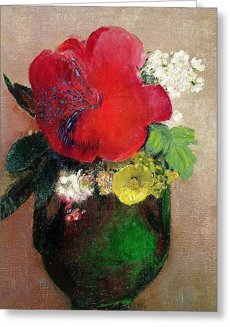 Tasteful Art Greeting Cards -  The Red Poppy Greeting Card by Odilon Redon