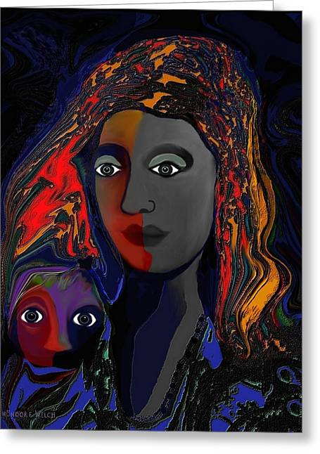 Pensive Digital Greeting Cards -   The  Silent Child  - 381 ... Greeting Card by Irmgard Schoendorf Welch
