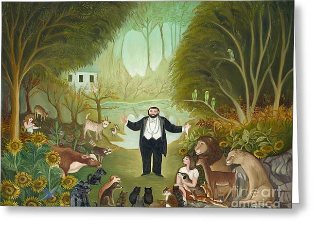 Pavarotti Greeting Cards -  The singer in the forest.  Greeting Card by Colette Raker