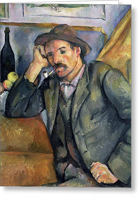 Jackets Greeting Cards -  The Smoker Greeting Card by Paul Cezanne