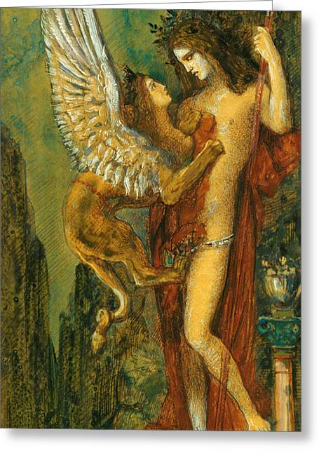 Gustave Moreau Greeting Cards -  The Sphinx Greeting Card by Gustave Moreau