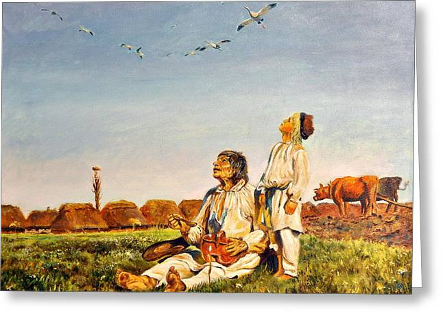 End Of The Summer- The Storks Greeting Card by Henryk Gorecki