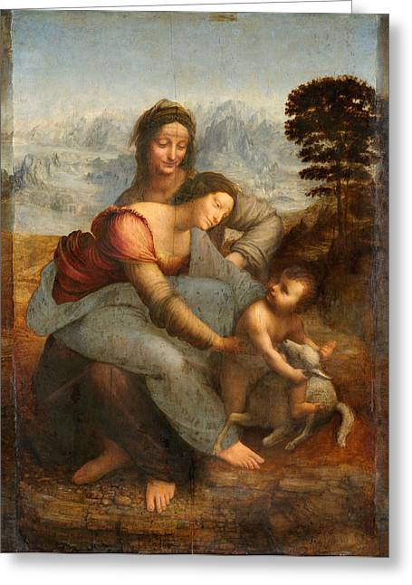 Gestures Greeting Cards -  The Virgin and Child with St. Anne Greeting Card by Leonardo Da Vinci