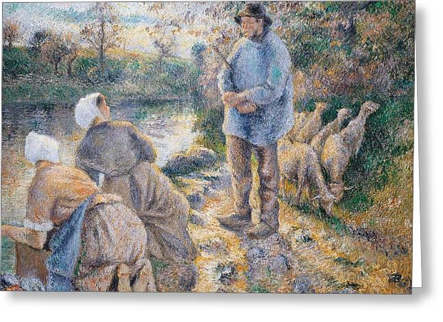 Washerwomen Greeting Cards -  The Washerwomen Greeting Card by Camille Pissarro