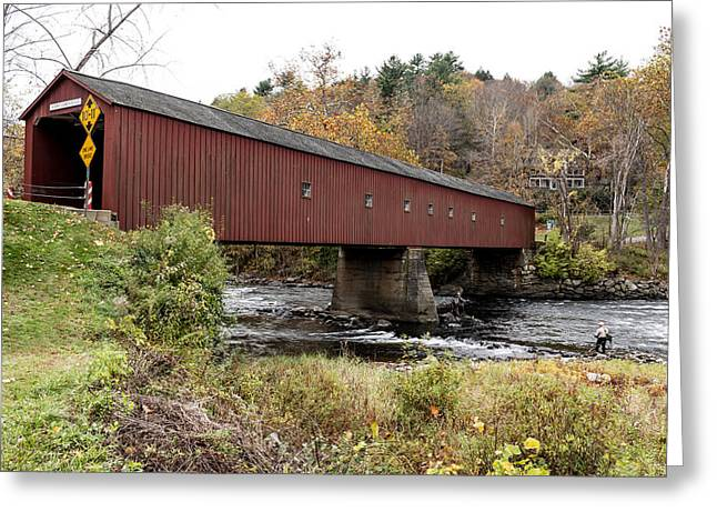 Connecticut Covered Bridge Greeting Cards -  The West Cornwall Bridge in West Cornwall Greeting Card by Carol M Highsmith