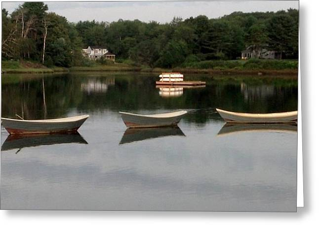 Maine Icons Greeting Cards - - Three Boats Too - Greeting Card by Brian S Boucher