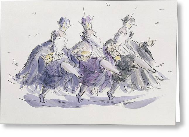 Crown Greeting Cards -  Three Kings Dancing a Jig Greeting Card by Joanna Logan