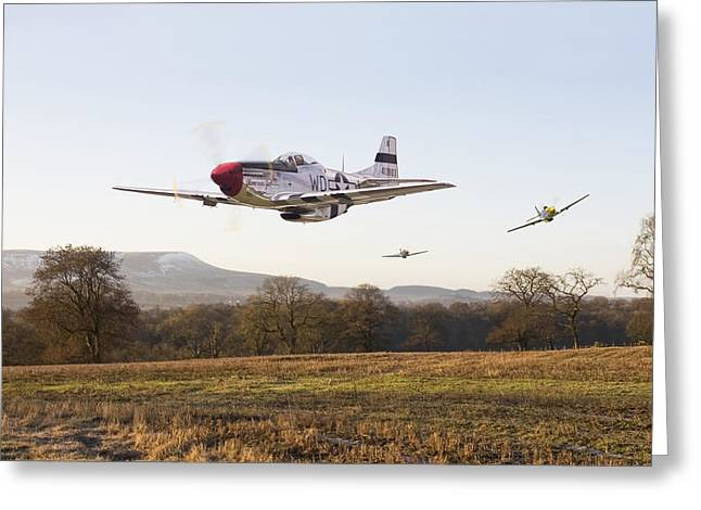 Military Airplane Greeting Cards -  Through the Gap Greeting Card by Pat Speirs