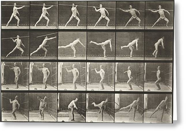 Multiple Exposures Greeting Cards -  Throwing Spear Greeting Card by Celestial Images