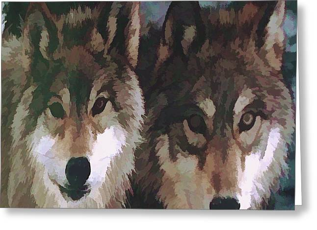 Beauty Of Wolves Greeting Cards -  Together Forever Wolves Greeting Card by Debra     Vatalaro