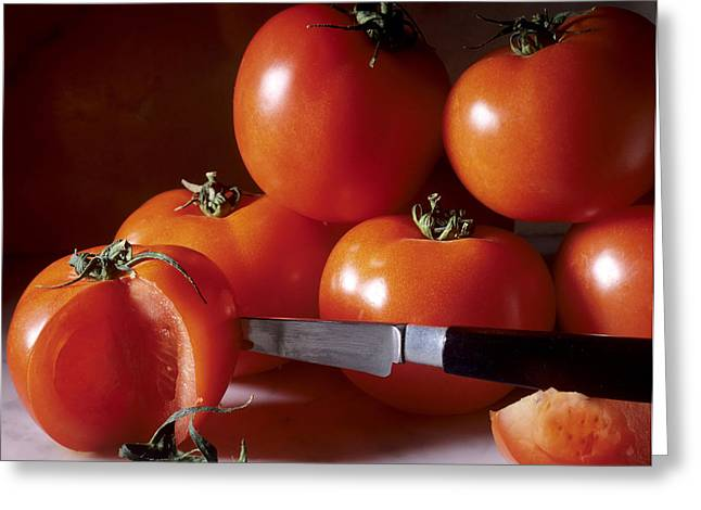 Tomatoes and a knife Greeting Card by BERNARD JAUBERT