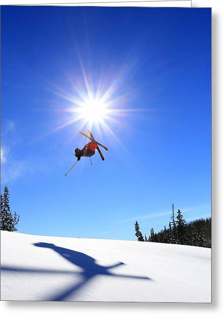 Ski Jump Greeting Cards -  Touching the sun. Greeting Card by Johnny Adolphson
