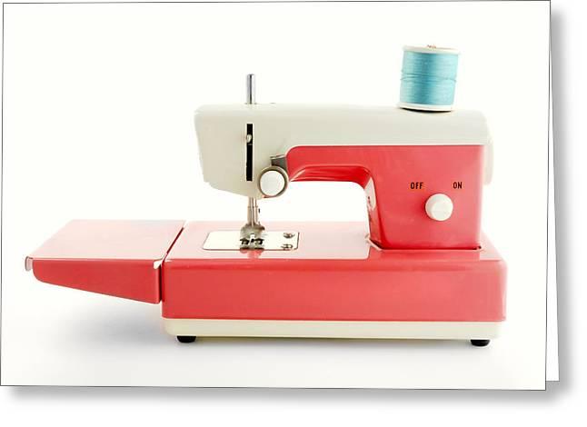 Spool Greeting Cards -  Toy Sewing Machine Greeting Card by Jim Hughes