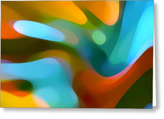 Abstract Movement Greeting Cards -  Tree Light 1 Greeting Card by Amy Vangsgard