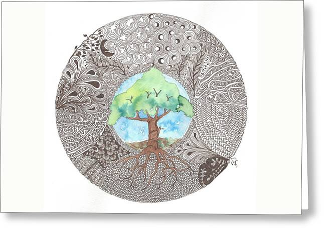 Tree Roots Mixed Media Greeting Cards -  Tree of Life Greeting Card by Terry Fleckney